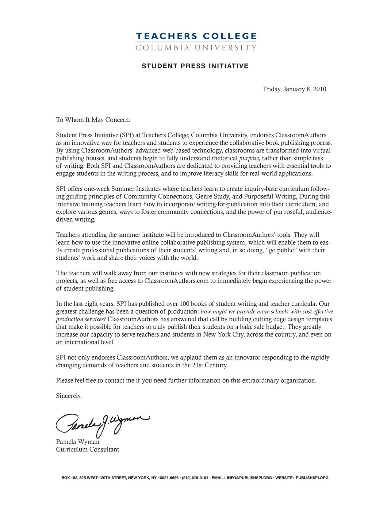 Teachers College Letter